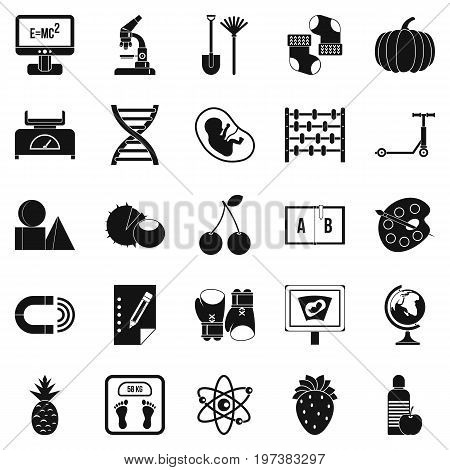 poster of Scientific approach icons set. Simple set of 25 scientific approach icons for web isolated on white background