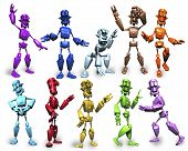 Multi Colored Robots In Various Poses