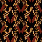 Seamless Repeating Textile, Ink Brush Strokes Pattern In Doodle Grunge Texture Style. poster