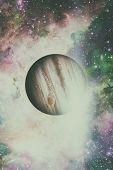 Planet Jupiter. Nebula On The Background. poster
