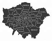 Greater London Administrative Area England Uk Black Map With White Labels Illustration poster