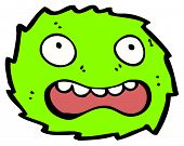 frightened furry green creature cartoon (raster version) poster