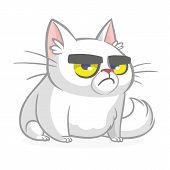 Cartoon Grumpy White Cat. Vector Illustration Isolated poster