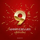 9 Golden Number And Anniversary Celebrating Text With Golden Serpentine And Confetti On Red Backgrou poster
