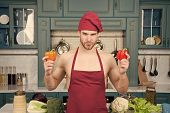 Man Gives Master Class In Cooking. Master Cook Ready For High Class Cooking. Man Chef Hold Peppers B poster
