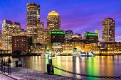 Boston Downtown skylines building cityscape sunset at Boston city, MA, USA. poster