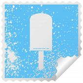 distressed square peeling sticker quirky symbol orange ice lolly poster