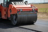Large Road-roller Paving A Road. Road Construction poster