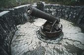 Cat Ba Island, Lan Ha Bay, Vietnam 09.11.2018: Cannon Fort Artillery Gun 138 Mm Soldiers. The Gun Po poster