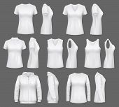 Women Clothes Mockups Of T-shirts, Sport Tank Tops Or Sportswear Hoodies. Vector White Womenswear Ap poster