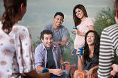 stock photo of bff  - Group of six happy young people socialize outside - JPG