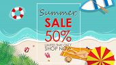 Summer Sale Discount 50 Percent Off Template Banner With Beach Accessories Background. Vector Summer poster