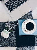 Home Office Workspace Mockup.workspace Top View, Copy Space.white Desk Office With Blank Notebook, C poster