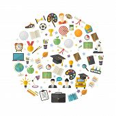 Education, Knowledge Icon Set In Circle In Flat Style Vector Illustration Over White.school, Univers poster