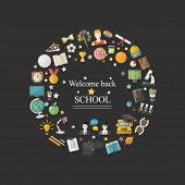 Education, Knowledge Icon Set In Circle With Text In Flat Style Vector Illustration Over Blak.school poster