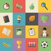 Vector Education, Knowledge Icon Set In Flat Style Vector Illustration School, University, College,  poster