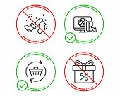 Do Or Stop. Santa Boots, Refresh Cart And Online Shopping Icons Simple Set. Discount Offer Sign. New poster
