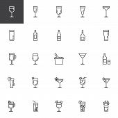 Cocktails Line Icons Set. Linear Style Symbols Collection, Outline Signs Pack. Vector Graphics. Set  poster