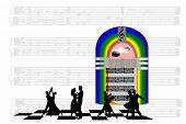 picture of jukebox  - Vector of a jukebox with dancers against a sheet music background - JPG