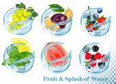 Big Collection Of Fruit In A Water Splash Icons. Grapes, Guava, Citron, Mint, Strawberry, Plum, Blue poster