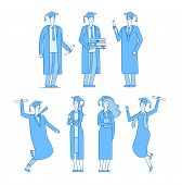 Graduate Students Character. Student Group Graduates High School Graduated Young Male Female In Acad poster