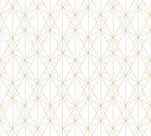 Gold Pattern. Vector Geometric Lines Seamless Texture. Golden Ornament With Delicate Grid, Lattice,  poster