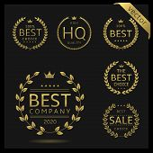 Golden Laurel Wreath Label Badge Set Isolated. Best Company, High Quality, Best Choice, Big Sale. Ve poster