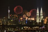 foto of petronas twin towers  - night view of Kuala Lumpur city Malaysia - JPG
