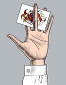 Female hand holding Joker playing card. Casino game retro concept design. Vintage color engraving st poster