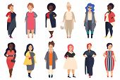 Vector Beautiful And Stylish Plus Size, Curvy Fat Women In Fashionable Casual Clothes Set Isolated. poster