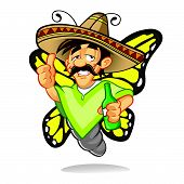 Cartoon Sombrero Drunken Butterfly