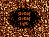 Chocolate Candy Frame Of Choco Candies On Black Background. Chocolate Candy Banner, Top View, Flat L poster
