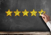 Excellent Five Star Customer Feedback Or Client Service Rating On Blackboard poster