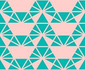 Vector Triangles Pattern. Abstract Geometric Seamless Texture In Turquoise And Pink Color. Simple Or poster