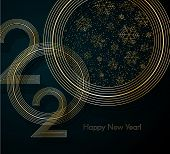 Gold Lines 2020 With Snowflake Glitter Text Happy New Year On A Blue Background Creative Element For poster