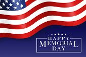 Happy Memorial Day Background With Us National Flag, Stars And Stripes. Template For Memorial Day In poster