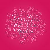 Happy Mothers Day. White Ink Calligraphy On Pink Background. Heart Shape. Used For Greeting Card, P poster