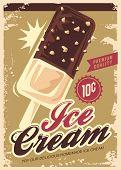 Ice Cream Promotional Retro Poster Design. Summer Sweet Dessert Vintage Sign. Icecream Ad With Choco poster