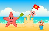 Starfish Family. Starfish Family Are Playing On The Sand. Starfish Kids Build A Sand Castle And Flag poster
