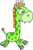 Toxic Crazy Green Giraffe Animal Safari Wildlife Vector Illustration Art