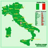 Map Of Italy With Infographic. Bright Illustration With Map Of Italy. Illustration With Italian Info poster