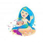 Mermaid Cartoon Character Cute Isolated On White Background, Beautiful Mermaid Cartoon Characters Cu poster