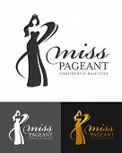 Miss Pageant Logo Sign With Abstract  Woman Queen Wear Crown And Line Curve Vector Design poster
