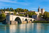 Pont Saint Benezet Bridge, Palace Of The Popes Or Palais Des Papes And Avignon Cathedral Aerial Pano poster