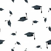 Graduation Hat Seamless Pattern . School Student Black Cap. Academic Ceremony. Cute Graphic Texture. poster