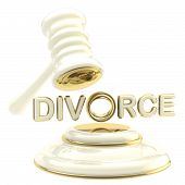 Divorce under the judge gavel isolated