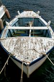 Old Blue And White Fishing Boat With Rope. Bow Of Blue And White Fishing Boat With Rope, Close-up. F poster