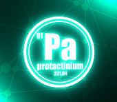 Protactinium Chemical Element. Sign With Atomic Number And Atomic Weight. Chemical Element Of Period poster