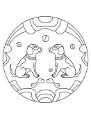 Dog Pattern. Illustration Of Dogs. Mandala With An Animal.  Dogs In A Circular Frame. Coloring Page  poster