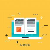 Electronic Book Icon, Digital Reading Concept, Internet Learning, E-book Library, Online Magazine. V poster